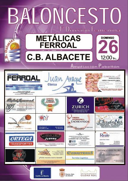 cartel jornada 3 Metalicas Ferroal CB Daimiel vs CB Albacete